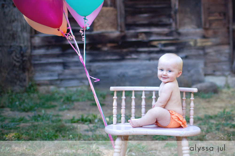 Baby and Barn Pictures with Balloons